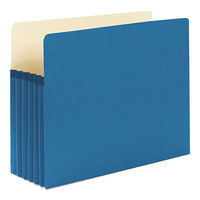 Smead 73235 Letter Size File Pocket - 5 1/4 inch Expansion with Straight Cut Tab, Blue