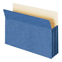 Smead 74225 Legal Size File Pocket - 3 1/2 inch Expansion with Straight Cut Tab, Blue