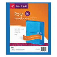 Smead 89522 Letter Size Side Load Poly Envelope - 1 1/4 inch Expansion with String Tie Closure, Blue - 5/Pack