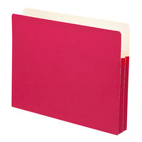 Smead 73221 Letter Size File Pocket - 1 3/4 inch Expansion with Straight Cut Tab, Red