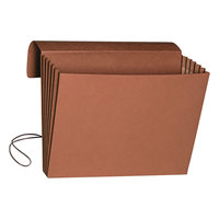 Smead 71186 Letter Size Extra Wide Expansion Wallet - 5 1/4 inch Expansion with Flap and Cord Closure, Redrope