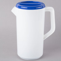 Tablecraft 144W 2.5 Qt. White Polypropylene Plastic Pitcher with 3-Way Blue Sanitary Lid