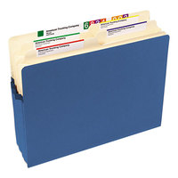 Smead 73225 Letter Size File Pocket - 3 1/2 inch Expansion with Straight Cut Tab, Blue