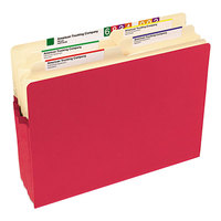 Smead 73231 Letter Size File Pocket - 3 1/2 inch Expansion with Straight Cut Tab, Red