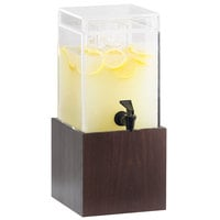 Cal-Mil 1527-1-52 1.5 Gallon Westport Dark Wood Beverage Dispenser - 8 1/4 inch x 9 3/4 inch x 17 3/4 inch