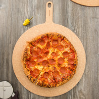 Epicurean 429-211601 16 inch Natural Richlite Wood Fiber Round Pizza Board with 5 inch Handle