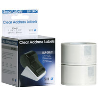 Seiko Instruments SLP2RLC 1 1/8 inch x 3 1/2 inch Clear Self-Adhesive Printable Address Labels   - 260/Box