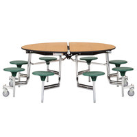 National Public Seating MTR60S-PBTMPC-GY-40 60 inch Round Grey Mobile Cafeteria Table with Particleboard Core and 8 Stools