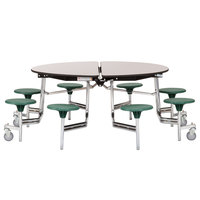 National Public Seating MTR60S-PBTMPC 60 inch Round Mobile Cafeteria Table with Particleboard Core and 8 Stools