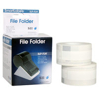 Seiko Instruments SLPFLW 9/16 inch x 3 7/16 inch White Self-Adhesive Printable File Folder Label   - 260/Box