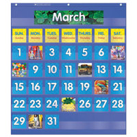 Scholastic 511479 25 1/2 inch x 10 inch Blue Monthly Calendar Pocket Chart