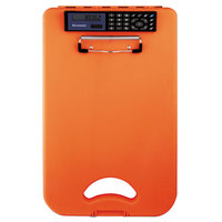 Saunders 00543 DeskMate II 1/2 inch Capacity 12 inch x 8 1/2 inch Hi-Visibility Orange Storage Clipboard with Calculator