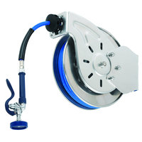 T&S B-7112-01 15' Open Stainless Steel Hose Reel with EB-0107 High-Flow Spray Valve