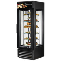 True G4SM-23-RGS-LD Black Four Sided Glass Door Refrigerator Merchandiser with Revolving Shelves - 23 Cu. Ft.