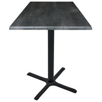 Holland Bar Stool OD211-3030BWOD30SQBlkStl 30 inch Square Black Steel Laminate Outdoor / Indoor Standard Height Table with Cross Base