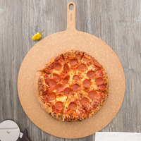 Epicurean 429-231801 18 inch Natural Richlite Wood Fiber Round Pizza Board with 5 inch Handle