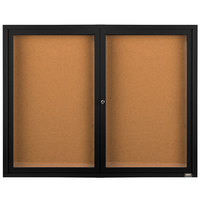 Aarco DCC4872RBK 48 inch x 72 inch Enclosed Hinged Locking 2 Door Powder Coated Black Finish Indoor Bulletin Board Cabinet