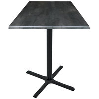 Holland Bar Stool OD211-3036BWOD36SQBlkStl 36 inch Square Black Steel Laminate Outdoor / Indoor Counter Height Table with Cross Base