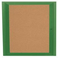 Aarco DCC3636RG 36 inch x 36 inch Enclosed Hinged Locking 1 Door Powder Coated Green Finish Indoor Bulletin Board Cabinet
