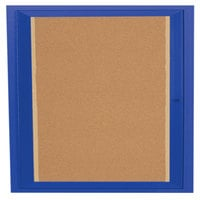 Aarco DCC3636RIB 36 inch x 36 inch Enclosed Hinged Locking 1 Door Powder Coated Blue Finish Indoor Lighted Bulletin Board Cabinet