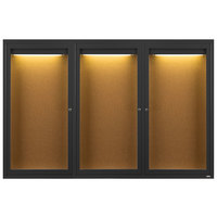 Aarco DCC4872-3RIBK 48 inch x 72 inch Enclosed Hinged Locking 3 Door Powder Coated Black Finish Indoor Lighted Bulletin Board Cabinet