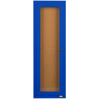 Aarco DCC3612RB 36 inch x 12 inch Enclosed Hinged Locking 1 Door Powder Coated Blue Finish Indoor Bulletin Board Cabinet