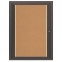 Aarco DCC3630RIBA 36 inch x 30 inch Enclosed Hinged Locking 1 Door Bronze Anodized Finish Indoor Lighted Bulletin Board Cabinet