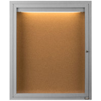 Aarco DCC3630RI 36 inch x 30 inch Enclosed Hinged Locking 1 Door Satin Anodized Finish Indoor Lighted Bulletin Board Cabinet