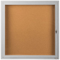 Aarco DCC3636R 36 inch x 36 inch Enclosed Hinged Locking 1 Door Satin Anodized Finish Indoor Bulletin Board Cabinet