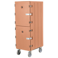 Cambro 1826DTCSP157 Camcart Coffee Beige Double Compartment Tray and Sheet Pan Carrier with Security Package