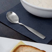 Acopa Delmont 6 1/8 inch 18/0 Stainless Steel Medium Weight Bouillon Spoon - 12/Case