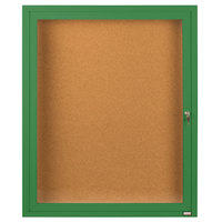 Aarco DCC2418RG 24 inch x 18 inch Enclosed Hinged Locking 1 Door Powder Coated Green Finish Indoor Bulletin Board Cabinet