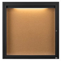 Aarco DCC3636RIBK 36 inch x 36 inch Enclosed Hinged Locking 1 Door Powder Coated Black Finish Indoor Lighted Bulletin Board Cabinet