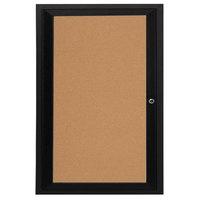 Aarco DCC3624RBK 36 inch x 24 inch Enclosed Hinged Locking 1 Door Powder Coated Black Finish Indoor Bulletin Board Cabinet
