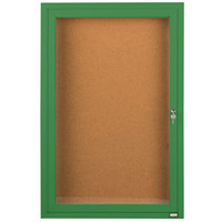 Aarco DCC2412RG 24 inch x 12 inch Enclosed Hinged Locking 1 Door Powder Coated Green Finish Indoor Bulletin Board Cabinet