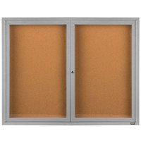 Aarco DCC4872R 48 inch x 72 inch Enclosed Hinged Locking 2 Door Satin Anodized Finish Indoor Bulletin Board Cabinet