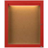Aarco DCC2418RIR 24 inch x 18 inch Enclosed Hinged Locking 1 Door Powder Coated Red Finish Indoor Lighted Bulletin Board Cabinet
