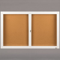 Aarco DCC3660RW 36 inch x 60 inch Enclosed Hinged Locking 2 Door Powder Coated White Finish Indoor Bulletin Board Cabinet