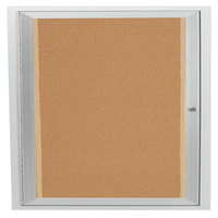 Aarco DCC3636RI 36 inch x 36 inch Enclosed Hinged Locking 1 Door Satin Anodized Finish Indoor Lighted Bulletin Board Cabinet