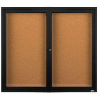 Aarco DCC4860RBK 48 inch x 60 inch Enclosed Hinged Locking 2 Door Powder Coated Black Finish Indoor Bulletin Board Cabinet