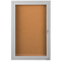 Aarco DCC2412R 24 inch x 12 inch Enclosed Hinged Locking 1 Door Satin Anodized Finish Indoor Bulletin Board Cabinet