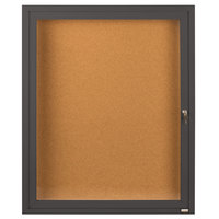 Aarco DCC2418RBA 24 inch x 18 inch Enclosed Hinged Locking 1 Door Bronze Anodized Finish Indoor Bulletin Board Cabinet