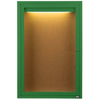 Aarco DCC3624RIG 36 inch x 24 inch Enclosed Hinged Locking 1 Door Powder Coated Green Finish Indoor Lighted Bulletin Board Cabinet
