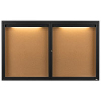Aarco DCC3660RIBK 36 inch x 60 inch Enclosed Hinged Locking 2 Door Powder Coated Black Finish Indoor Lighted Bulletin Board Cabinet