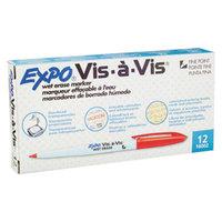 Expo 16002 Vis-a-Vis Red Fine Point Wet Erase Marker - 12/Pack