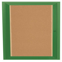 Aarco DCC3636RIG 36 inch x 36 inch Enclosed Hinged Locking 1 Door Powder Coated Green Finish Indoor Lighted Bulletin Board Cabinet