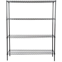 Regency 18 inch x 60 inch NSF Black Epoxy Shelf Kit with 74 inch Posts