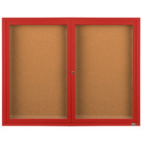 Aarco DCC3648RR 36 inch x 48 inch Enclosed Hinged Locking 2 Door Powder Coated Red Finish Indoor Bulletin Board Cabinet