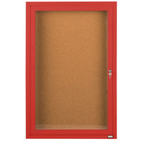 Aarco DCC4836RR 48 inch x 36 inch Enclosed Hinged Locking 1 Door Powder Coated Red Finish Indoor Bulletin Board Cabinet