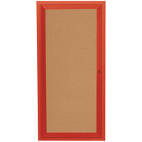 Aarco DCC2412RR 24 inch x 12 inch Enclosed Hinged Locking 1 Door Powder Coated Red Finish Indoor Bulletin Board Cabinet